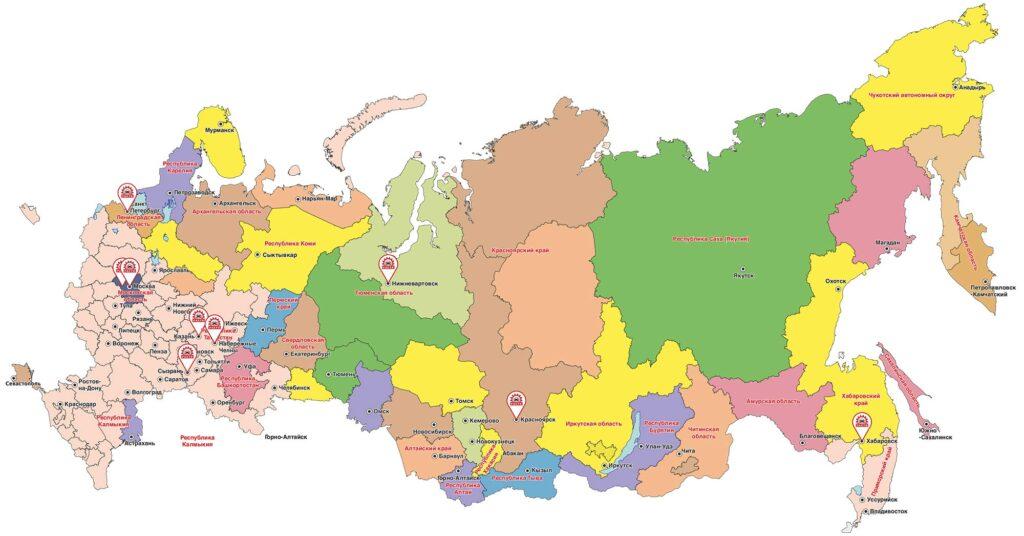 Члены Ассоциации «РАСТО» на карте Российской Федерации