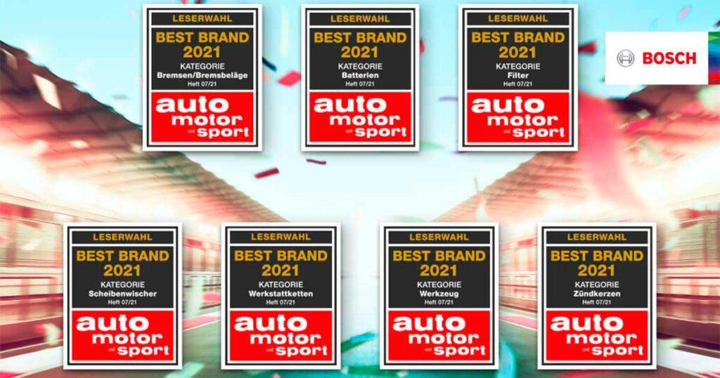 Продукция Bosсh, а также сеть Бош Авто Сервис были признаны лучшими в семи категориях автомобильных запчастей и сервисного обслуживания.