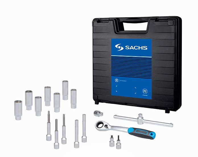 Набор специального инструмента Sachs для замены амортизаторов включает в себя 17 отдельных деталей.