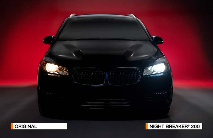 По сравнению со стандартными галогенными лампами свет от Night Breaker®200 — на 200% ярче и на 20% более белый