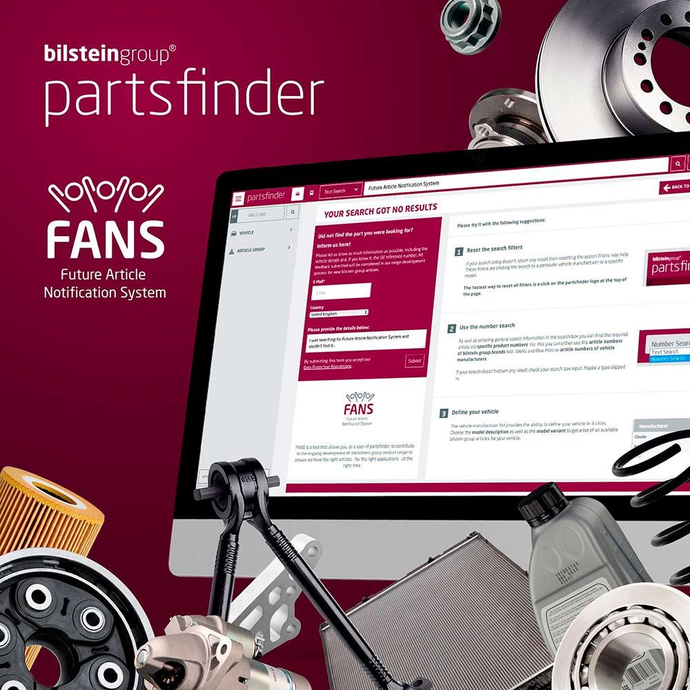 Компания bilstein group представила специальный инструмент под названием FANS (Future Article Notification System) - систему уведомления о будущих артикулах