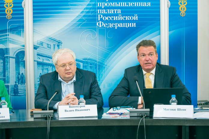 С приветственным словом выступил председатель правления Российско-Германской внешнеторговой палатыМаттиас Шепп